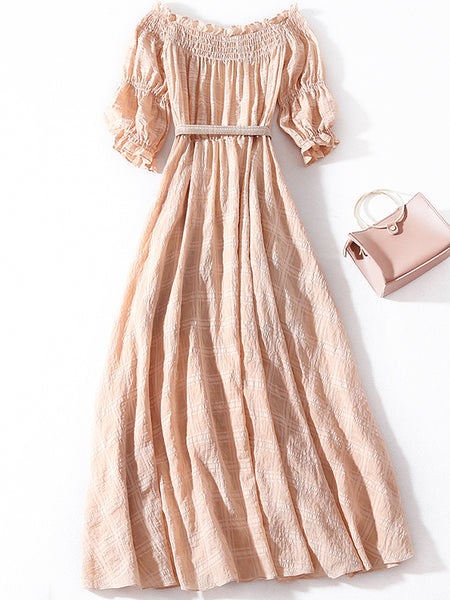 Brief Plaid Beige Slash Neck Short Sleeve Long Dress
