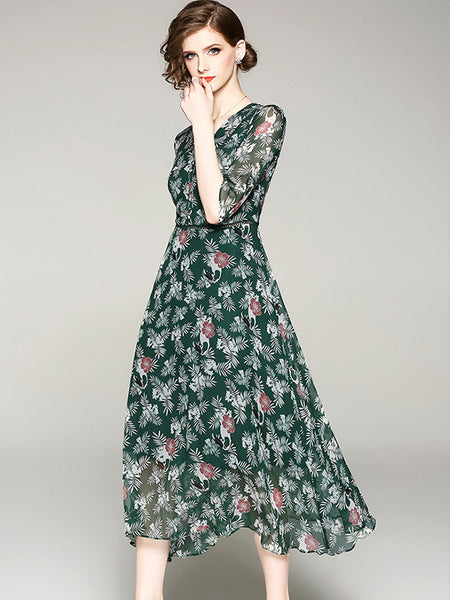 Print Silk Half Sleeve V-Neck Maxi A-line Dress