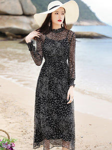 Casual Black Stand Collar Slim Silk A-Line Dress