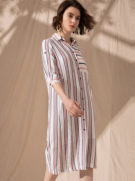 Casual Strip Turn Down Collar Single Breasted Stright Shirt Dress
