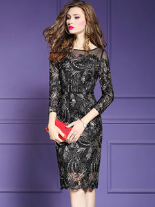 Elegant Long Sleeve Mesh Belted Beaded Tight Dress