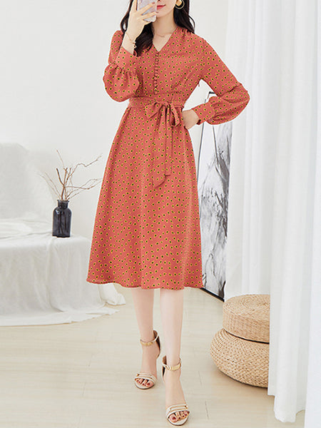 Fashion V-Neck Puff Long Sleeve A-Line Dress