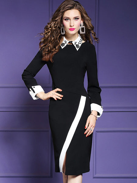 Elegant Purple Color Beaded Stitching Peter Pan Collar Sheath Dress
