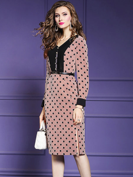 Vintage Silm Polk Dots V-Neck Long Sleeve Bodycon Dress