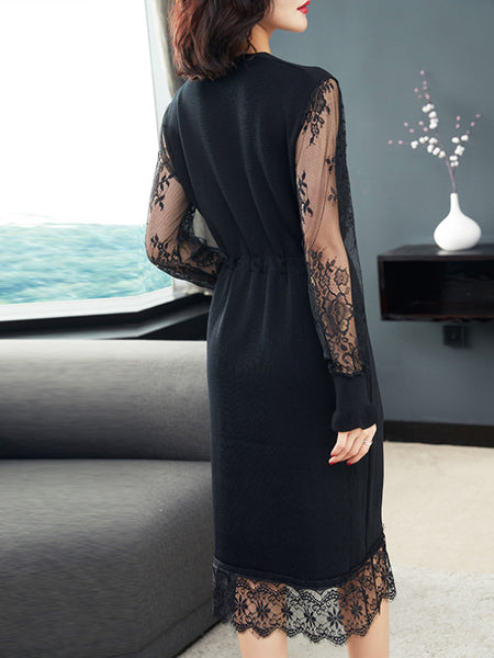 Sexy V-Neck Lace Sleeve Black A-Line Dress