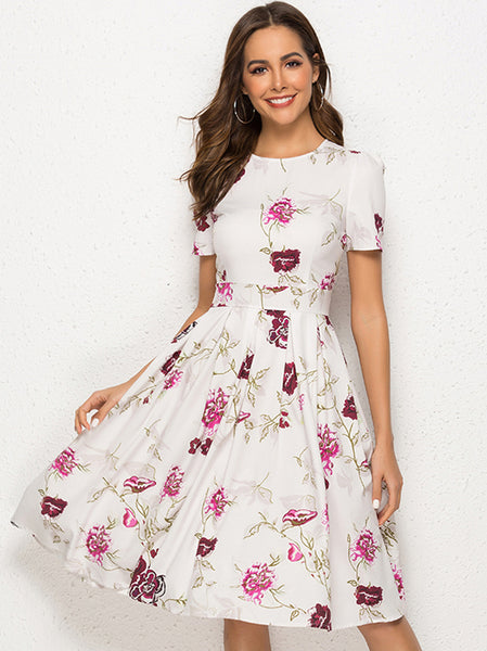 Fashion Print O-Neck Short Sleeve Skater Midi Dress