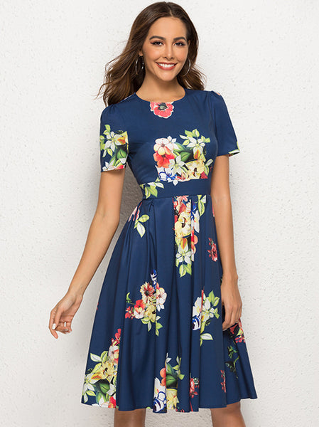 Stylish Floral O-Neck Sheath Skater Dress