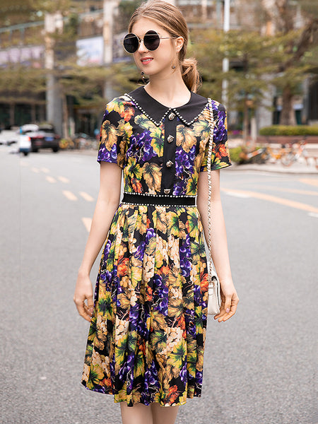 Vintage Beaded Turn Down Collar Patchwork A-Line Dress