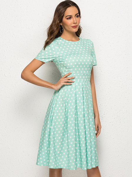 Sexy Polk Dots Light Green Short Sleeve A-line Skater Dress