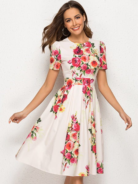 Elegant Print Floral Beige Short Sleeve A-line Skater Dress