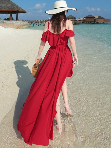 Bohemia Chiffon Strap Backless Big Hem Maxi Dress