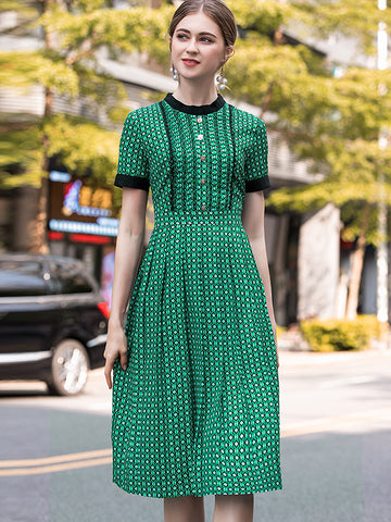 Green Plaid  Slim O-Neck Big Hem A-line Dress