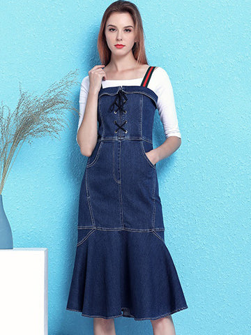 Chic Slim Bodycon Denim Mermaid Strap Dress