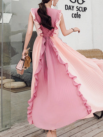 Elegant Chiffon Sleeveless Pleated Big Hem Maxi Dress