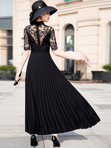 Sexy Fashion Lace Pure Color O-Neck Half Pleated Long Dress