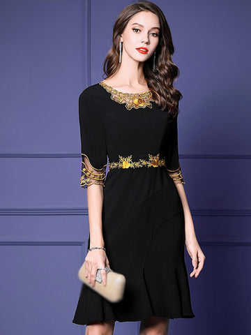 Silm Chic Embroidery Mesh High Waist Half Sleeve Bodycon Dress