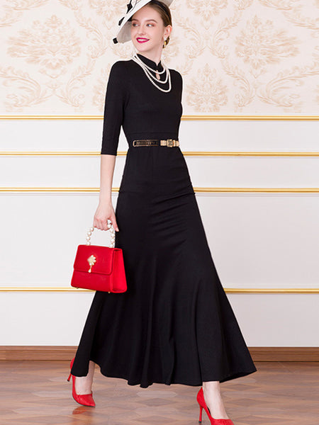 Elegant Solid Color Sashes Stand Collar Maxi Dress