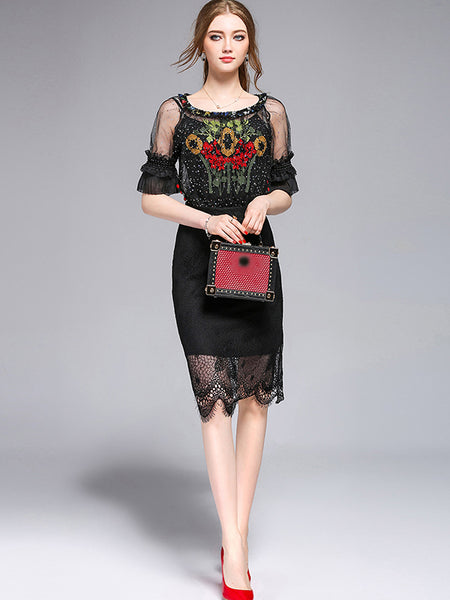 Elegant Paillette Hollow Out Embroidery Bodycon Dress