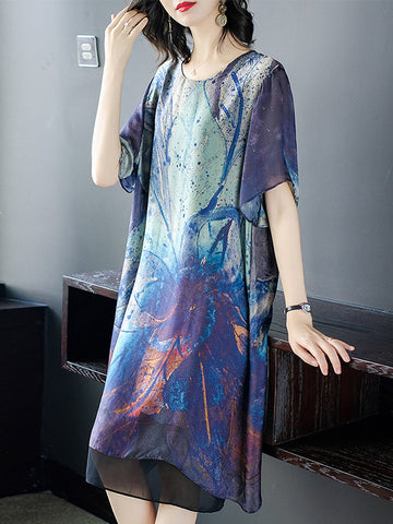 Casual Stitching Print Loose O-Neck Shift Dress