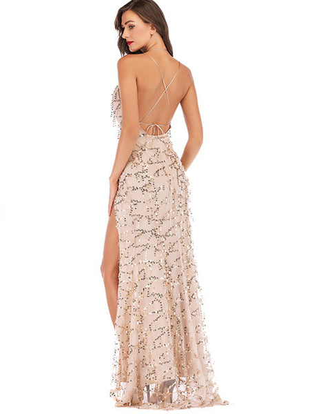 Sexy Tassels Slit Backless Paillette Maxi Dress