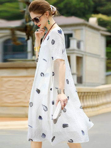 Simple White Linen Loose Print Shift Dress