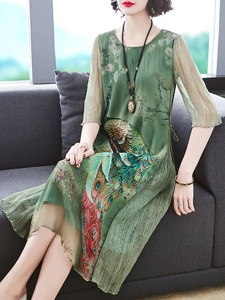Vintage Silk Peacock Print Loose Shift Dress