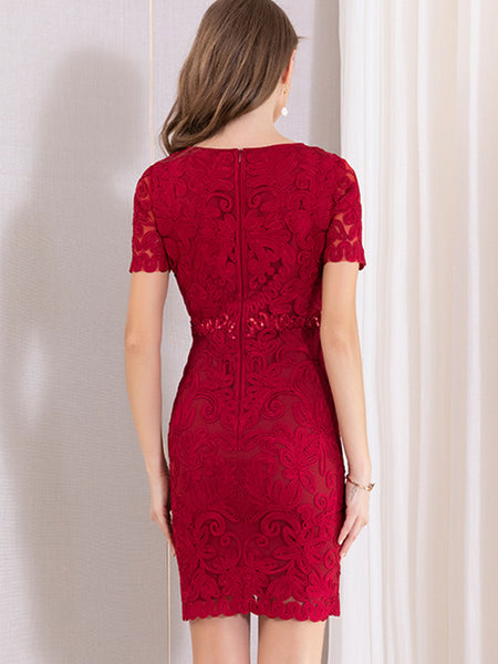 Simple Embroidery Slim Mini Bodycon Dress