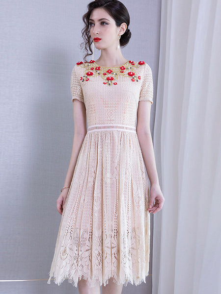 Hollow Out Beaded Embroidery Big Hem Skater Dress