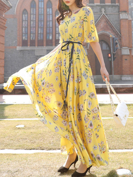 Suave Lacing Gathered Waist Print Maxi Dress