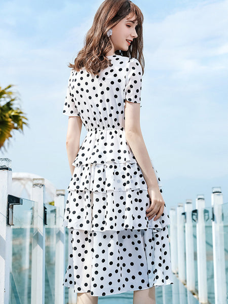 Polka Dot Print Single Breasted Tiered Dress