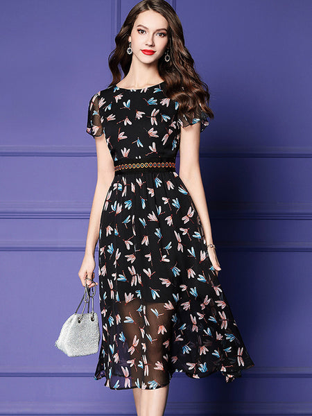Black Print Embroidery High Waist Perspective Skater Dress