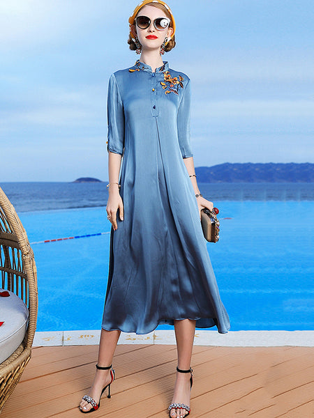 Chinoiserie Stand Collar Embroidery Button Shift Dress