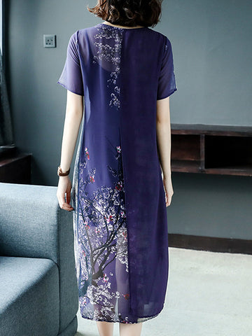 Chinoiserie Layerd-Look Embroidery Gradient Shift Dress