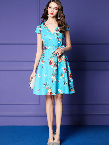 Sweet Bowknot Slim V-Neck Print Skater Dress