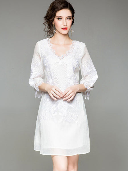 Simple Loose Embroidery Perspective Shift Dress