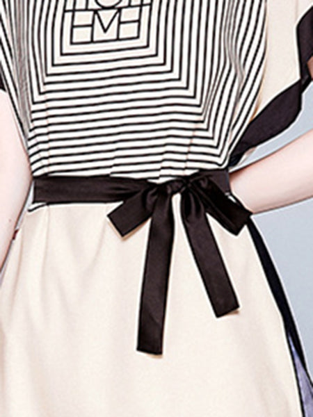 Casual Bowknot Loose Sleeve Silk Mini Skater Dress
