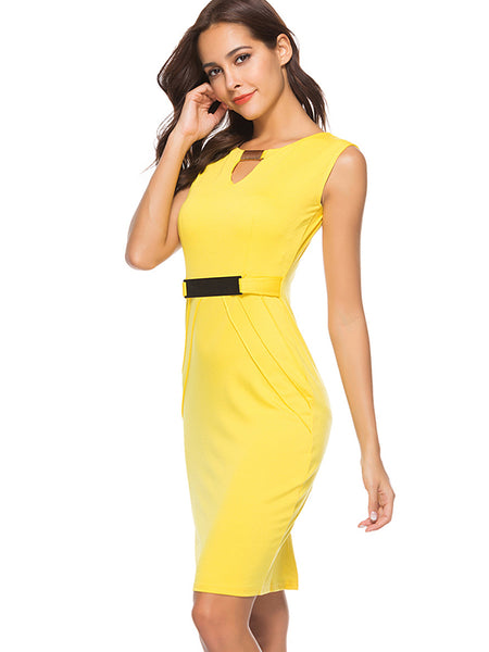 Slim Stitching Sashes Sexy Cotton Bodycon Dress