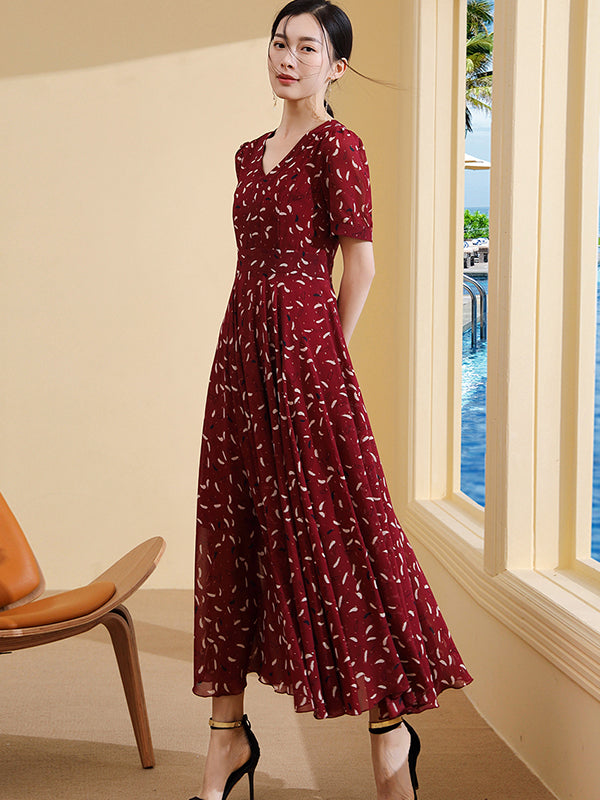 Slim Simple V-Neck Ruffled Chiffon Big Hem Maxi Dress