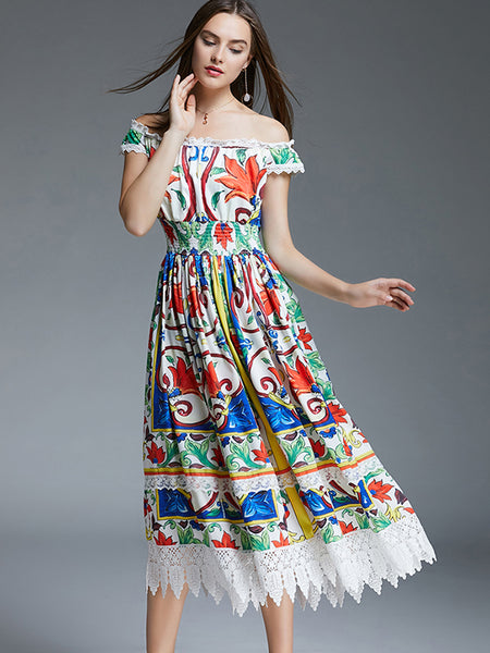 Holiday Boat Neck Elastic Waist Multicolor Beach Dress