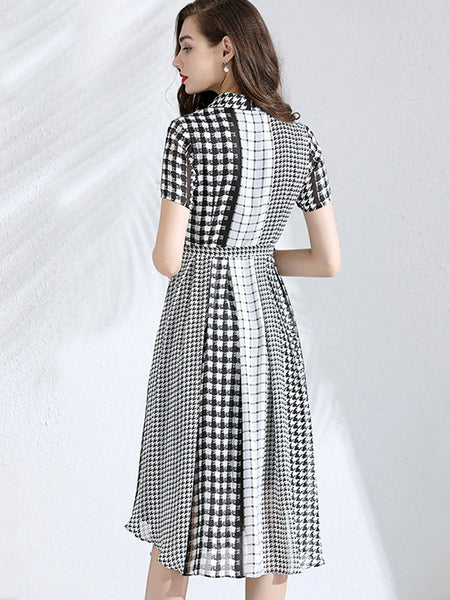 Houndstooth Sashes Turn-Down Collar Stitching Skater Dress