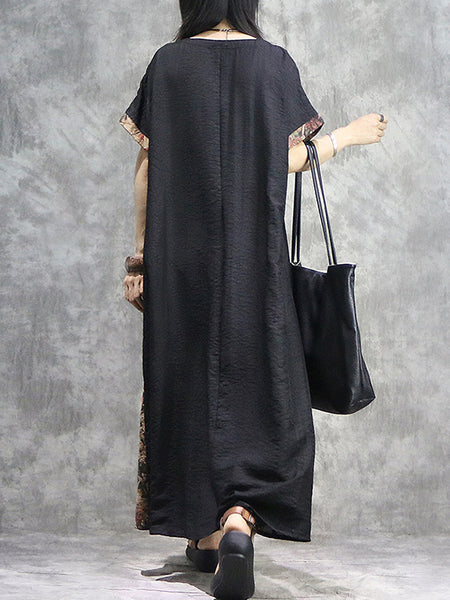 Stitching Ethnic Loose Ruffled V-Neck Maxi Dress