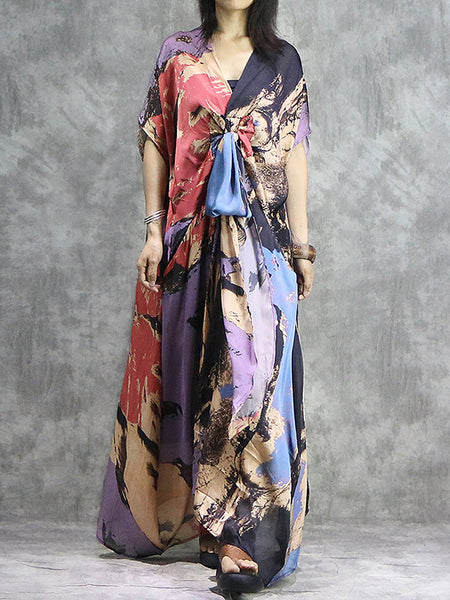 Lacing Irregular Patchwork Loose Two-Piece Maxi Dress