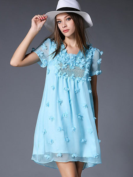 Paillette Beaded Perspective Decoration Lovely Shift Dress