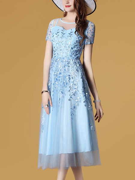 Embroidery Elegant Stitching Perspective Skater Dress