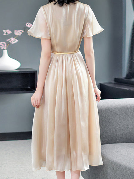 Brief Belt Gathered Waist Solid Lotus Sleeves Skater Dress