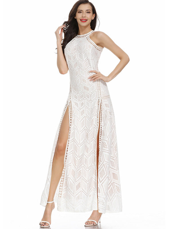 High Split Lace Hollow Out High Slit Backless Maxi Dress