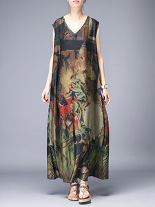 Silk Loose Folk V-Neck Print Big Hem Maxi Dress