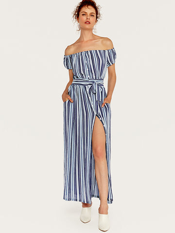 Stripe Lacing Single Breasted Off-The-Shoulder Street Dress