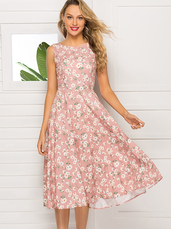Daisy Print Gathered Waist Sleeveless Brief Dress