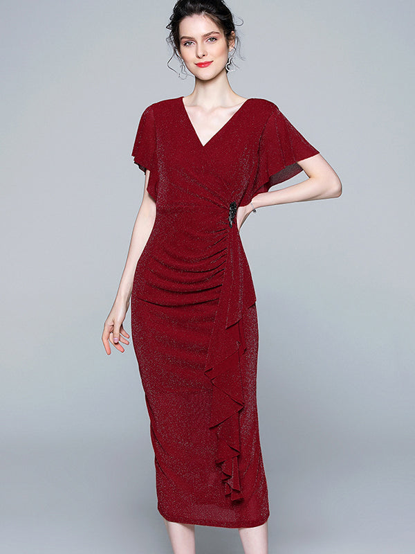 Party Falbala Decoration Slim Red Sheath Dress